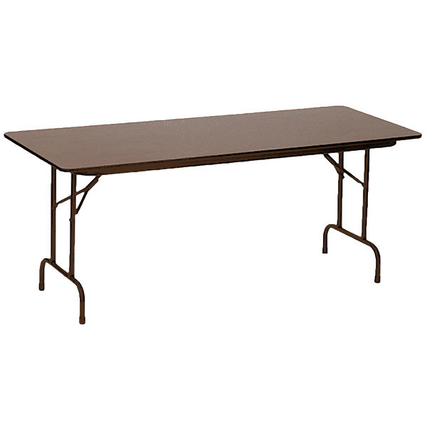 """Correll PCA3096P01 30"""" x 96"""" Walnut Solid High Pressure Heavy Duty Adjustable Height Folding Table with Plywood Core"""