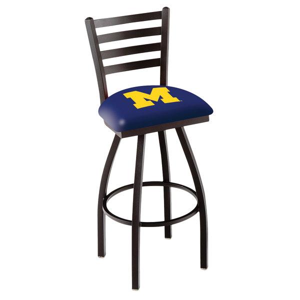 Holland Bar Stool L01430MichUn University of Michigan Swivel Stool with Ladder Back and Padded Seat