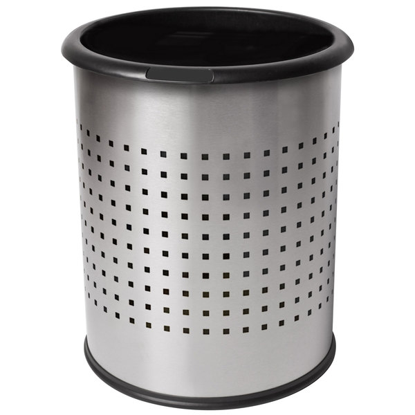 Commercial Zone 785229 Precision InnRoom 12.8 Qt. / 3.2 Gallon Stainless Steel Round Trash Receptacle / Wastebasket with Black Liner Main Image 1