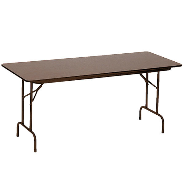 "Correll PCA3696P01 36"" x 96"" Walnut Solid High Pressure Heavy Duty Adjustable Height Folding Table with Plywood Core"