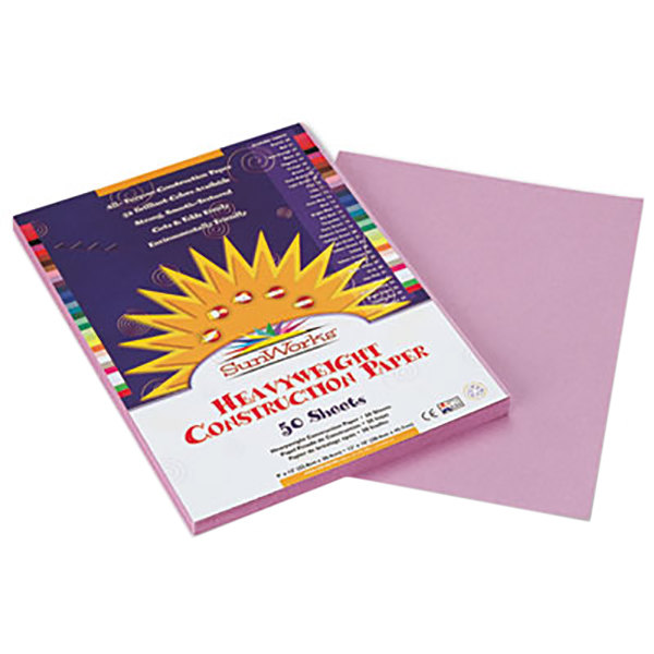 "SunWorks 7103 9"" x 12"" Lilac Pack of 58# Construction Paper - 50/Sheets"