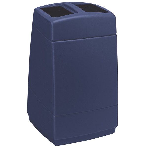 Commercial Zone 732847 PolyTec 55 Gallon Dark Blue Rectangular Open Top Waste Container Main Image 1