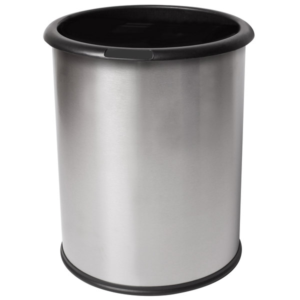 Commercial Zone 785129 Precision InnRoom 12.8 Qt. / 3.2 Gallon Classic Stainless Steel Round Trash Receptacle / Wastebasket with Black Liner Main Image 1