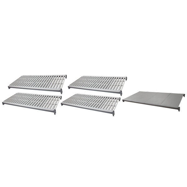 "Cambro CBSK2136VS5580 Camshelving® Basics Plus 21"" x 36"" Shelf Kit with 1 Solid and 4 Vented Shelves"