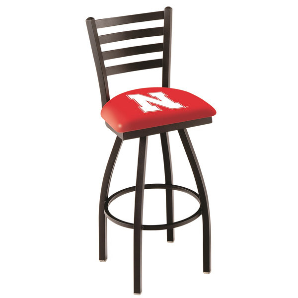 Holland Bar Stool L01430NebrUn University of Nebraska Swivel Stool with Ladder Back and Padded Seat