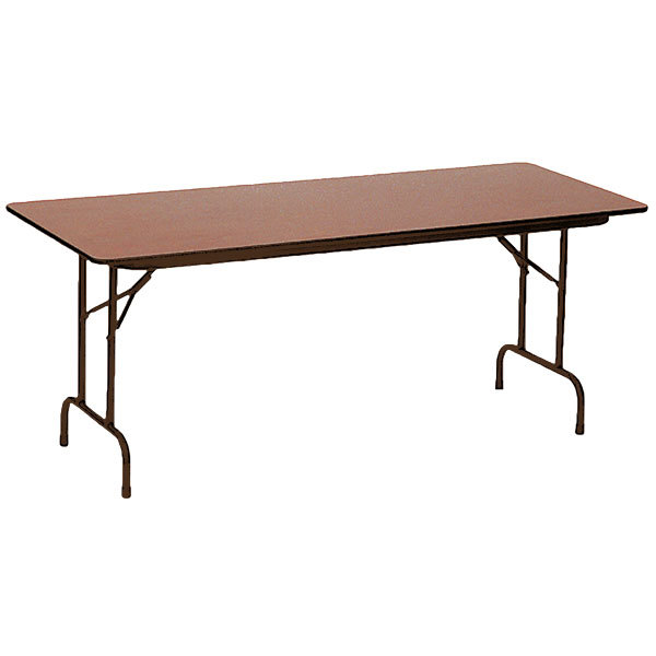 """Correll PCA3060P06 30"""" x 60"""" Medium Oak Solid High Pressure Heavy Duty Adjustable Height Folding Table with Plywood Core"""