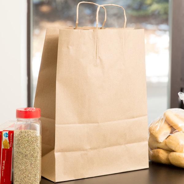 "Duro Mart 13"" x 7"" x 17"" Brown Shopping Bag with Handles - 250/Bundle"
