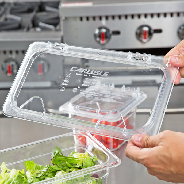 Carlisle 10278Z07 StorPlus EZ Access 1/3 Size Clear Polycarbonate Hinged  Lid With Two Handles