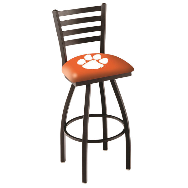 Holland Bar Stool L01430Clmson Clemson University Swivel Stool with Ladder Back and Padded Seat