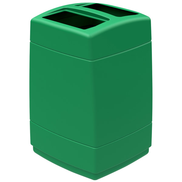Commercial Zone 732836 PolyTec 55 Gallon Green Rectangular Open Top Waste Container Main Image 1