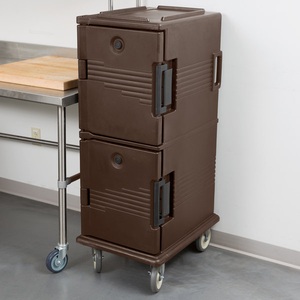 Cambro UPC800131 Ultra Camcarts® Dark Brown Insulated Food Pan Carrier - Holds 12 Pans Main Image 3
