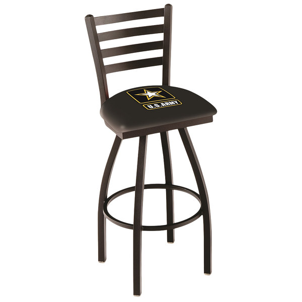Holland Bar Stool L01430Army United States Army Swivel Stool with Ladder Back and Padded Seat