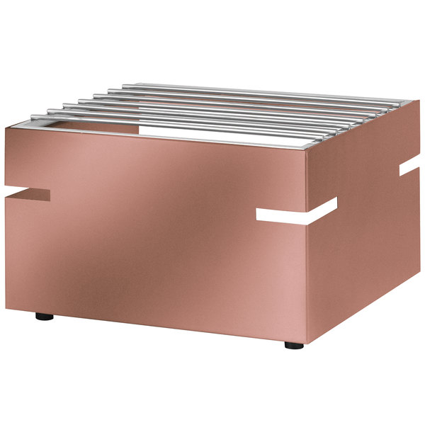 """Eastern Tabletop 3277CP LeXus 14 1/2"""" x 12"""" x 9"""" Copper Coated Stainless Steel Action Station Butane Stove Cover Up with Grill Top Main Image 1"""