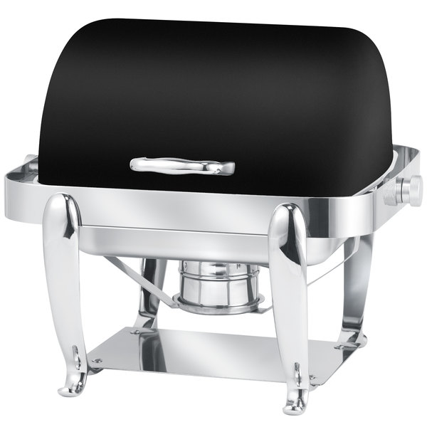Eastern Tabletop 3117MB Park Avenue 4 Qt. Rectangular Black Coated Stainless Steel Roll Top Chafer