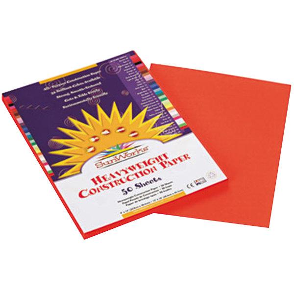 """SunWorks 6603 9"""" x 12"""" Orange Pack of 58# Construction Paper - 50/Sheets"""