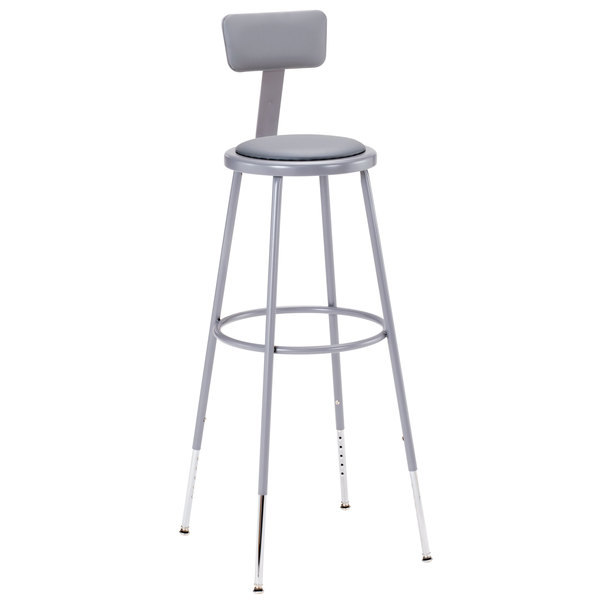 "National Public Seating 6430HB 31"" - 39"" Gray Adjustable Round Padded Lab Stool with Adjustable Padded Backrest"