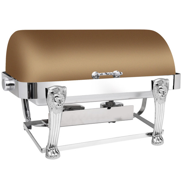 Eastern Tabletop 3114LHRZ Lion Head 8 Qt. Rectangular Bronze Coated Stainless Steel Roll Top Chafer