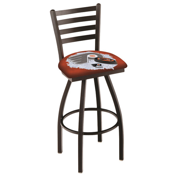 Holland Bar Stool L01430PhiFly-O-D2 Philadelphia Flyers Swivel Stool with Ladder Back and Padded Seat