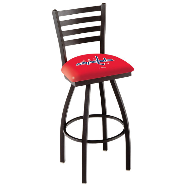 Holland Bar Stool L01430WshCap Washington Capitals Swivel Stool with Ladder Back and Padded Seat