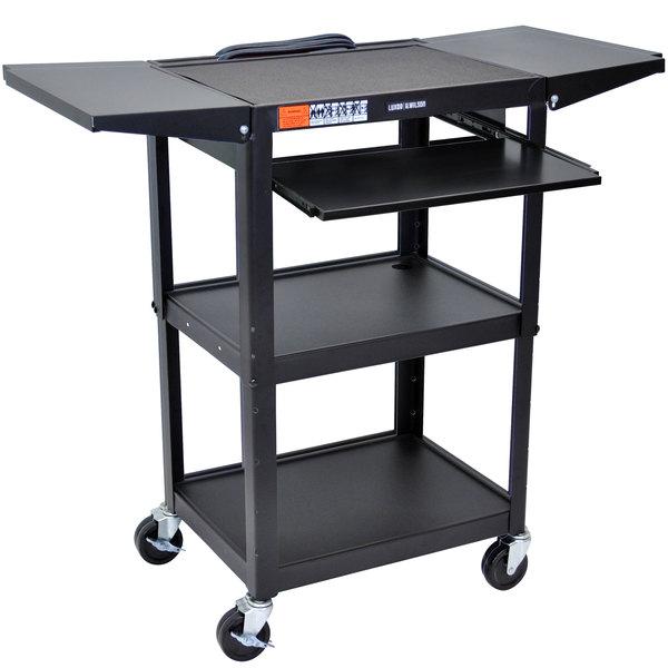 Luxor AVJ42KBDL Adjustable Height Black A/V Cart with Keyboard Shelf and Drop Leaf Shelves Main Image 1