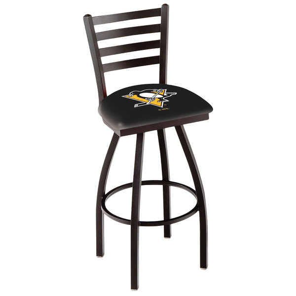 Holland Bar Stool L01430PitPen Pittsburgh Penguins Swivel Stool with Ladder Back and Padded Seat Main Image 1