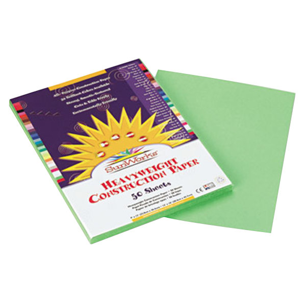 "SunWorks 8103 9"" x 12"" Light Green Pack of 58# Construction Paper - 50/Sheets"