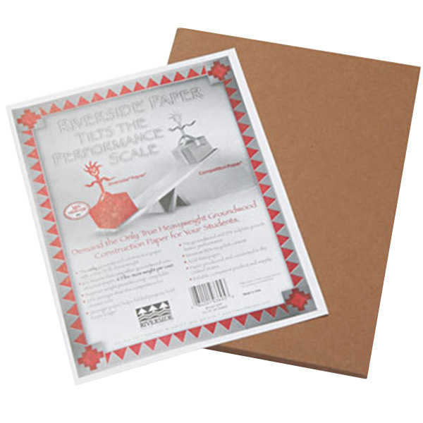 """Pacon 103605 Riverside 9"""" x 12"""" Brown Pack of 76# Construction Paper - 50 Sheets Main Image 1"""