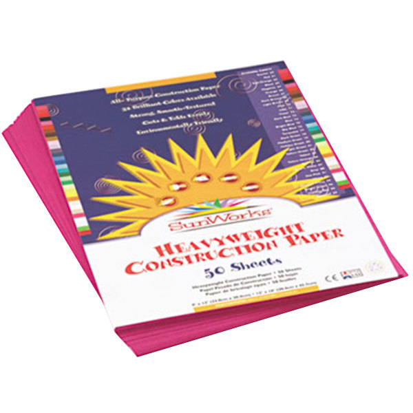 "SunWorks 6403 9"" x 12"" Magenta Pack of 58# Construction Paper - 50/Sheets"