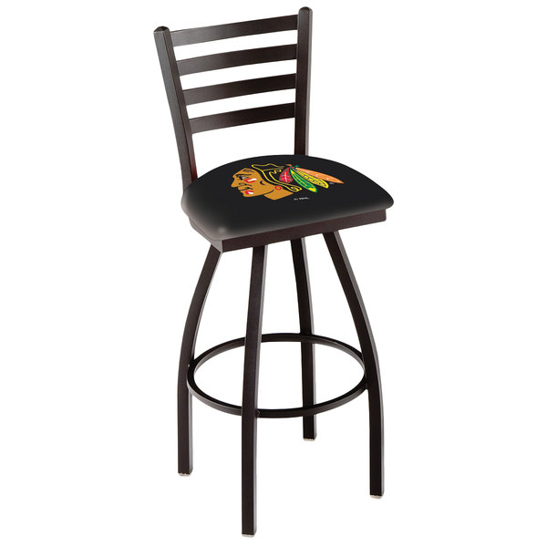 Holland Bar Stool L01430ChiHwk-B Chicago Blackhawks Swivel Stool with Ladder Back and Padded Seat