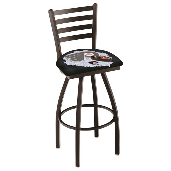 Holland Bar Stool L01430PhiFly-B-D2 Philadelphia Flyers Swivel Stool with Ladder Back and Padded Seat Main Image 1