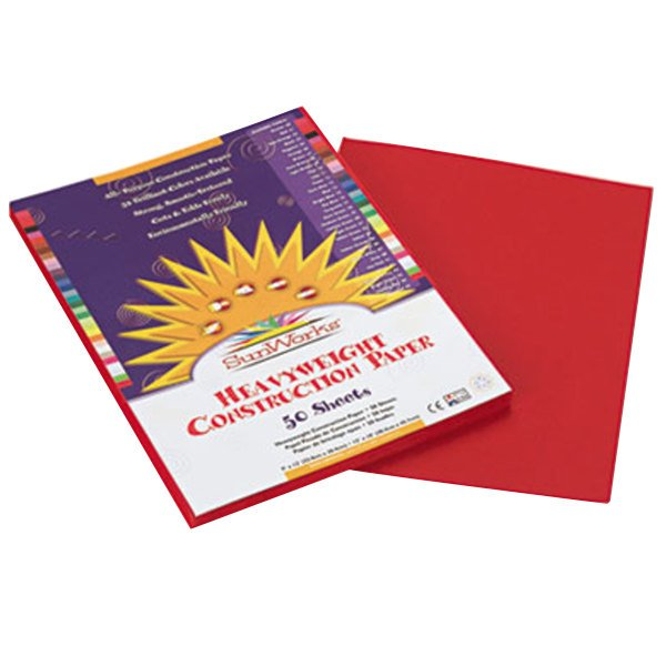 "SunWorks 6103 9"" x 12"" Red Pack of 58# Construction Paper - 50/Sheets"