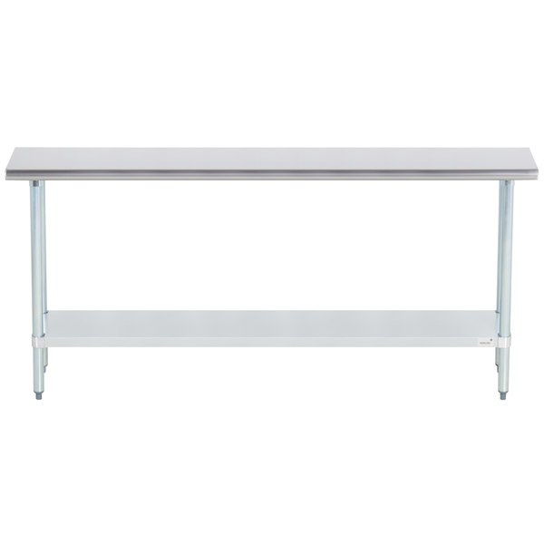 """Advance Tabco ELAG-246-X 24"""" x 72"""" 16 Gauge Stainless Steel Work Table with Galvanized Undershelf"""