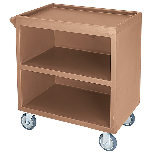 """Cambro BC330 Coffee Beige Three Shelf Service Cart with Three Enclosed Sides - 33 1/8"""" x 20"""" x 34 5/8"""""""
