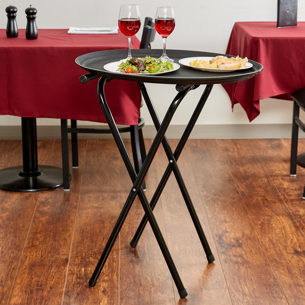 """Lancaster Table & Seating 19"""" x 16 1/2"""" x 31"""" Folding Black Metal Double Bar Tray Stand"""