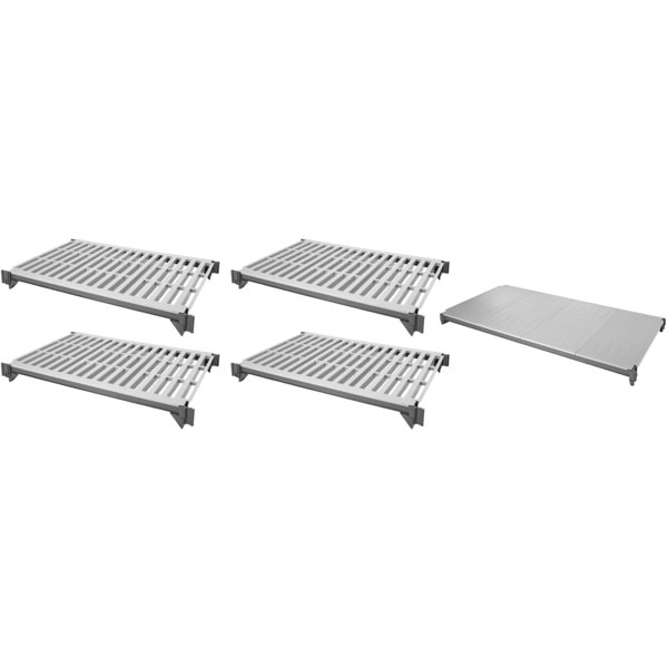 "Cambro ESK1848VS5580 Camshelving® Elements 18"" x 48"" Shelf Kit with 1 Solid and 4 Vented Shelves for Stationary Units"