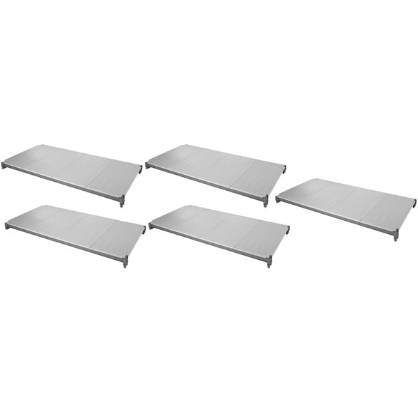 """Cambro ESK2442S5580 Camshelving® Elements 24"""" x 42"""" Shelf Kit with 5 Solid Shelves for Stationary Units"""