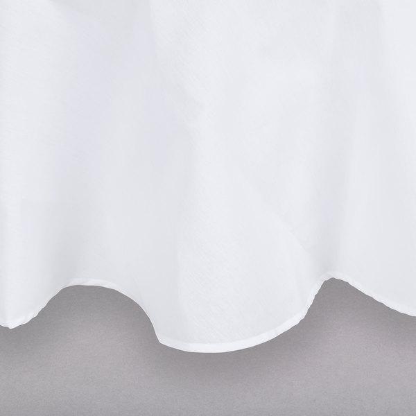 "120"" White Round Hemmed Polyspun Cloth Table Cover"