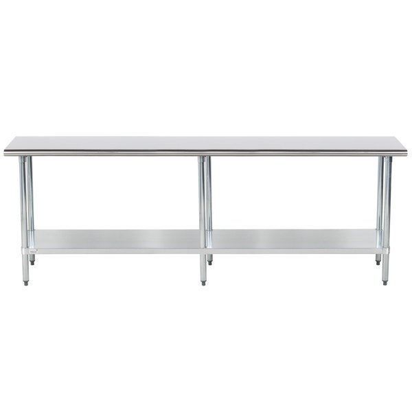 """Advance Tabco GLG-248 24"""" x 96"""" 14 Gauge Stainless Steel Work Table with Galvanized Undershelf"""