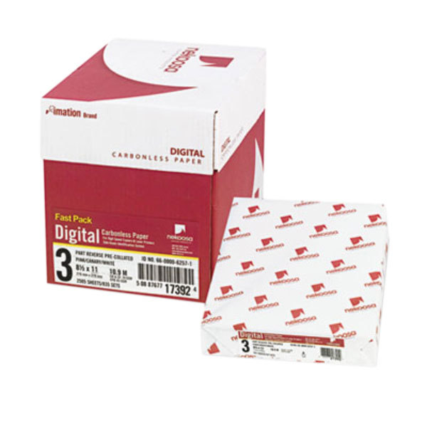 """Nekoosa 17392 8 1/2"""" x 11"""" Pink / Canary / White Case of Three-Part Digital Carbonless Paper - 2500 Sheets"""