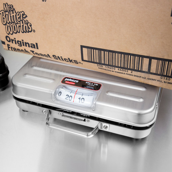 Rubbermaid FGP250SS Pelouze 250 lb. Stainless Steel Mechanical Receiving Scale - Briefcase