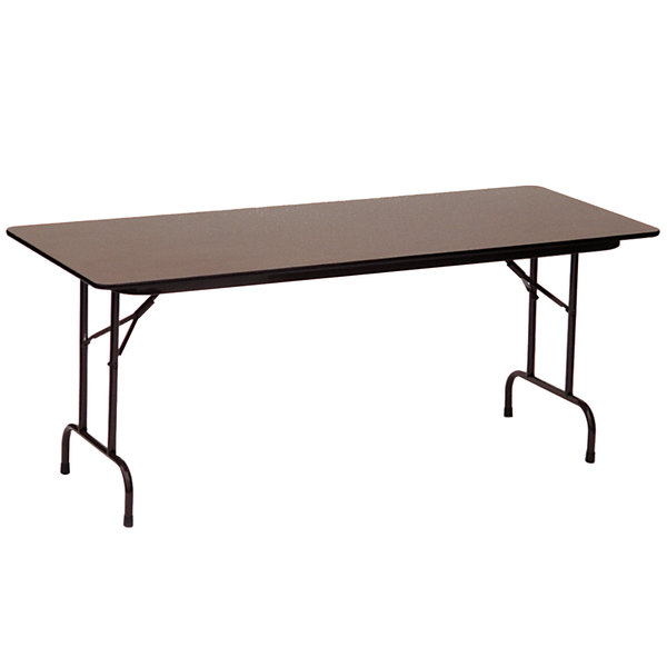 "Correll CF2460PX01 24"" x 60"" Rectangular Walnut High Pressure Heavy Duty Folding Table"