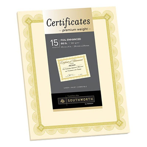"""Southworth CTP2V Premium Certificates 8 1/2"""" x 11"""" Ivory Pack of 66# Certificate Paper with Spiro Gold Foil Border - 15 Sheets"""
