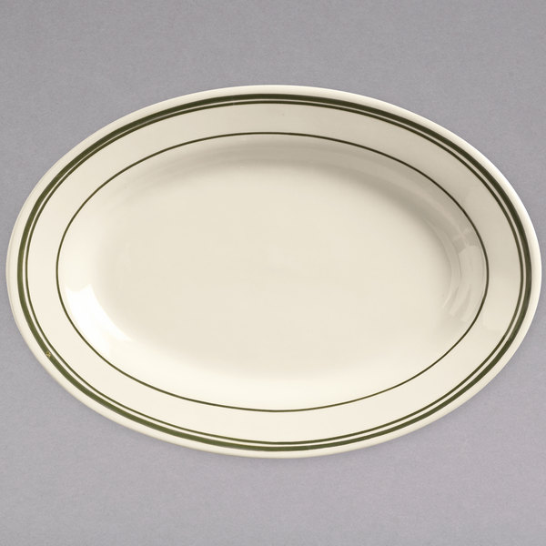 """World Tableware VIC-14 Viceroy 12 1/2"""" x 8 3/4"""" Ivory (American White) Rolled Edge Stoneware Platter with Green Bands - 12/Case"""