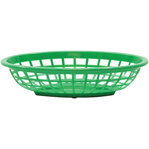 """Tablecraft 1071G 8"""" x 5 3/8"""" x 2"""" Green Oval Side Order Plastic Basket - 12/Pack Main Image 1"""
