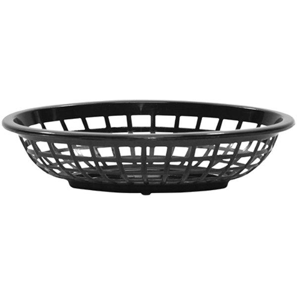 """Tablecraft 1071BK 8"""" x 5 3/8"""" x 2"""" Black Oval Side Order Plastic Basket - 12/Pack Main Image 1"""