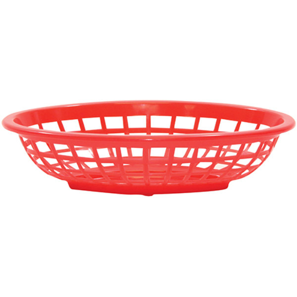 """Tablecraft 1071R 8"""" x 5 3/8"""" x 2"""" Red Oval Side Order Plastic Basket - 12/Pack Main Image 1"""