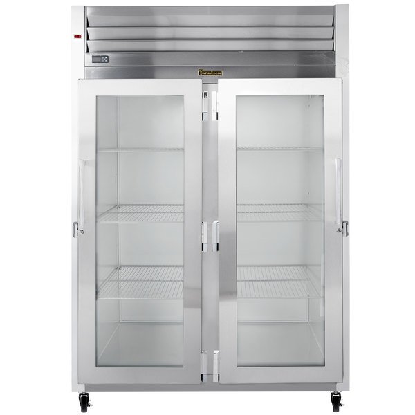 Traulsen G21011 2 Section Glass Door Reach In Refrigerator - Right / Left Hinged Doors Main Image 1