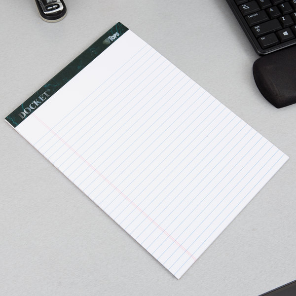 """TOPS 63410 Docket 8 1/2"""" x 11 3/4"""" Wide Ruled White Perforated Writing Tablet - 12/Pack"""