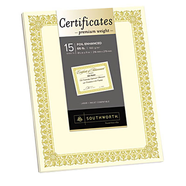 """Southworth CTP1V Premium Certificates 8 1/2"""" x 11"""" Ivory Pack of 66# Certificate Paper with Fleur Gold Foil Border - 15 Sheets"""