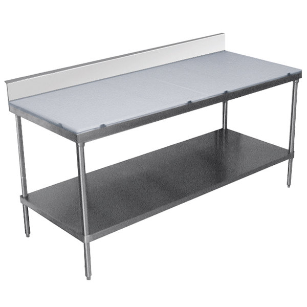"""Advance Tabco SPS-244 Poly Top Work Table 24"""" x 48"""" with Undershelf and 6"""" Backsplash"""